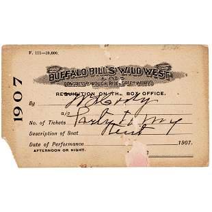 WILLIAM F. BUFFALO BILL CODY Signed Personal Pass