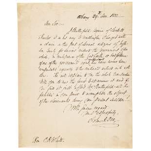 1832 General JOHN ADAMS DIX ALS and Engraving