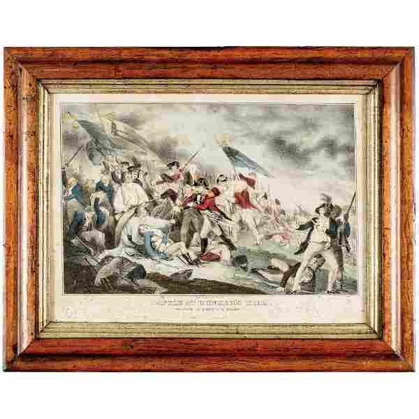 Hand-Colored Lithograph of the Battle at Bunker's Hill,