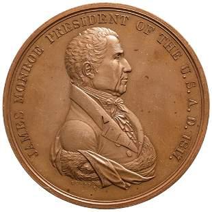 1817 James Monroe Indian Peace Medal Julian IP-8