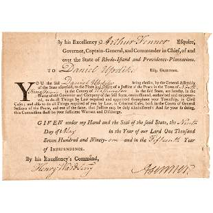 1791 RI Governor ARTHUR FENNER Signed Appointment