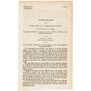 1837 Abolition of Slavery, District of Columbia!