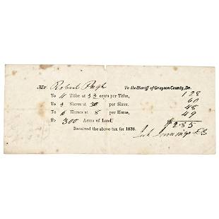 1838, Tax Receipt Paid On SLAVES / Property