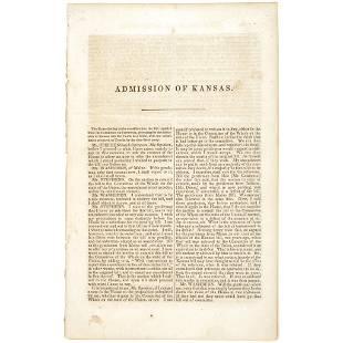 c. 1859 ADMISSION OF KANSAS Issue of Slavery