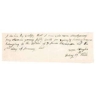 1826 Slave Auctioneer CRYING (Auctioneering) Fee