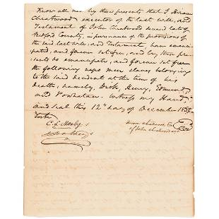 1838 Slave Emancipation Document 4 Slaves Freed