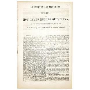 1858 Slavery Debate Imprint: Admission of Kansas