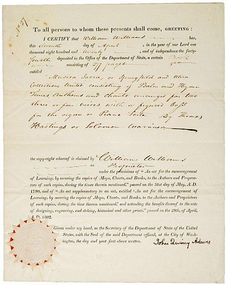 2001: JOHN QUINCY ADAMS Signed Document