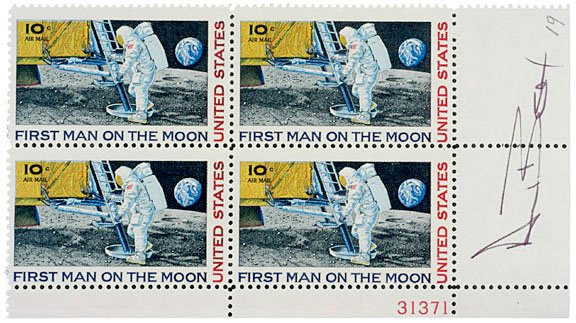 2004: Astronaut Alan Bean Signed Stamps