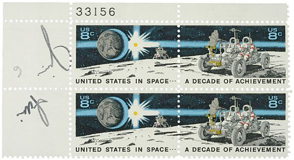2008: Astronaut Jim Irwin Signed Stamps