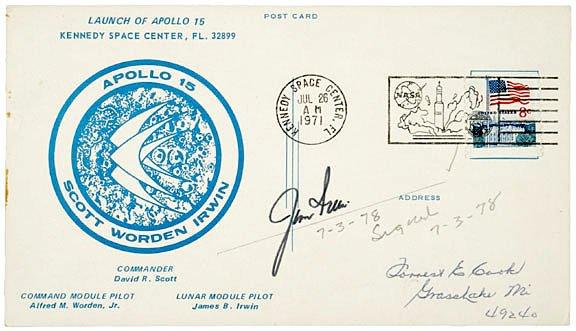 2009: Apollo Astronaut Jim Irwin Signed Postcard