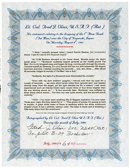2012: A-Bomb Co-Pilot, Fred J. Olivi, Signed Document