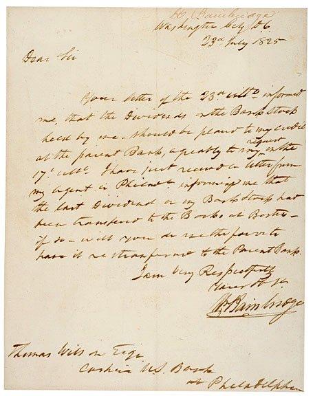 2015: WILLIAM BAINBRIDGE Signed Letter