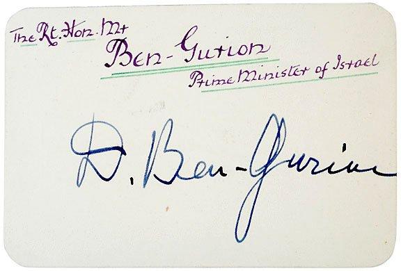 2017: David Ben-Gurion Signed Card
