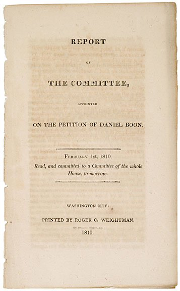 2019: PETITION OF DANIEL BOONE, COMMITTEE REPORT, 1810