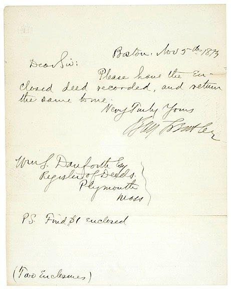 2024: BENJAMIN F. BUTLER, Signed Note 1873