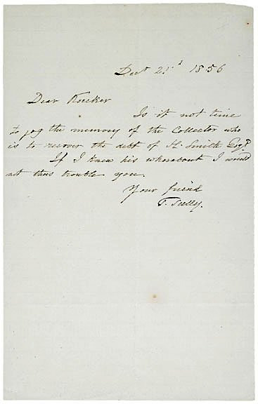 2122: Thomas Sully Signed Letter 1856