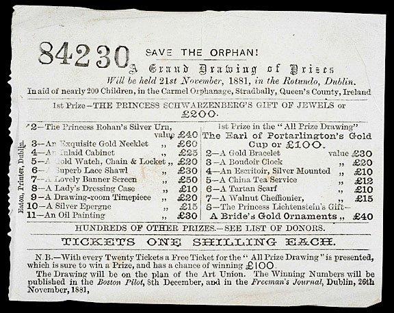 2208: 1881 Dublin Ireland Lottery Ticket