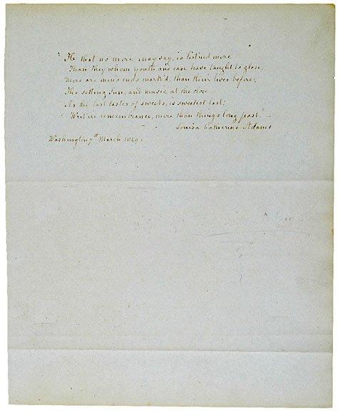1: LOUISA CATHERINE ADAMS Manuscript Signed, 1849