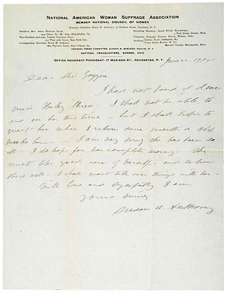 2: SUSAN B. ANTHONY Signed Letter, Envelope, 1905