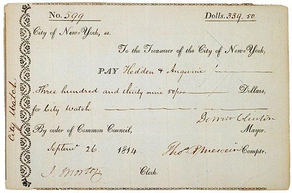 11: DEWITT CLINTON Financial Document Signed, 1814