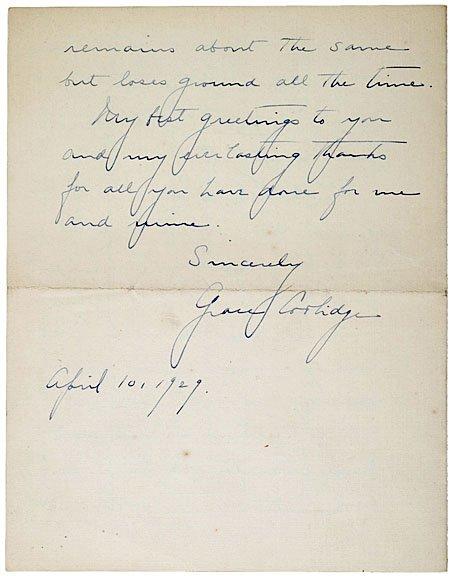 13: GRACE COOLIDGE Autograph Letter Signed, 1929