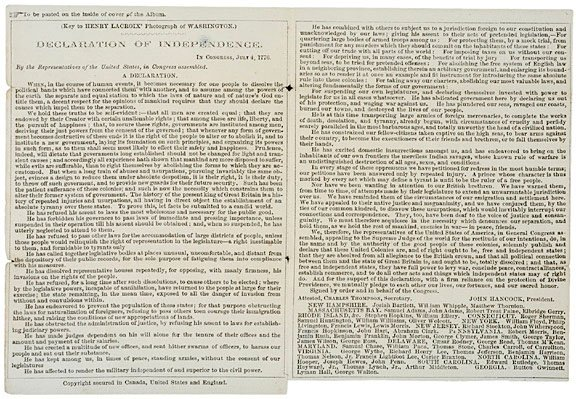 18: DECLARATION OF INDEPENDENCE with Washington CDV
