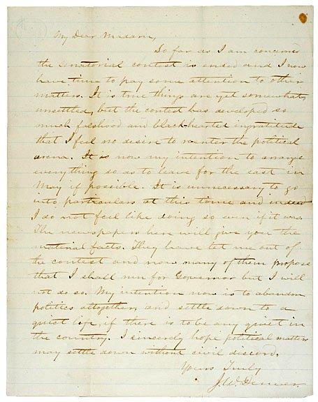 21: JAMES WILLIAM DENVER Signed Letter, 1861