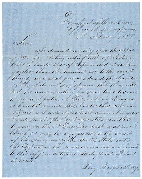 22: JAMES WILLIAM DENVER, 1858 Indian Affairs Letter