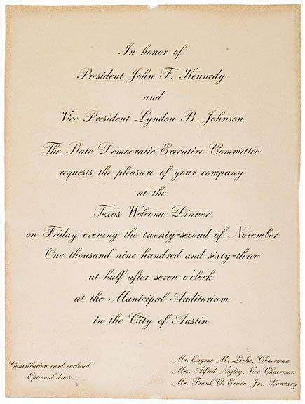 53: JOHN F. KENNEDY, Rare Printed Invitation, 1963