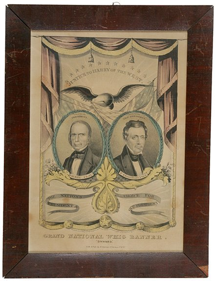 589: 1844 Election Litho for Clay and Frelinghuysen