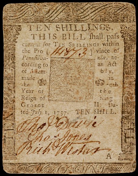 885: B. FRANKLIN Issue of Ten Shilling Note