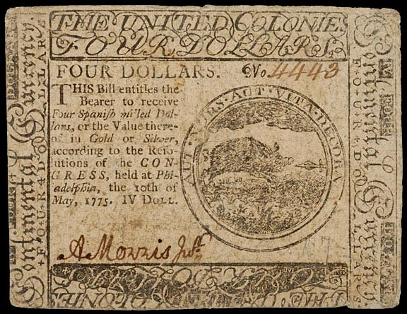 889: Continental Currency, May 10, 1775, $4