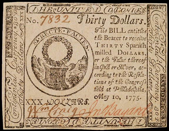 891: Continental Currency, May 10, 1775, $30
