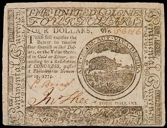 892: Continental Currency, November 29, 1775, $4