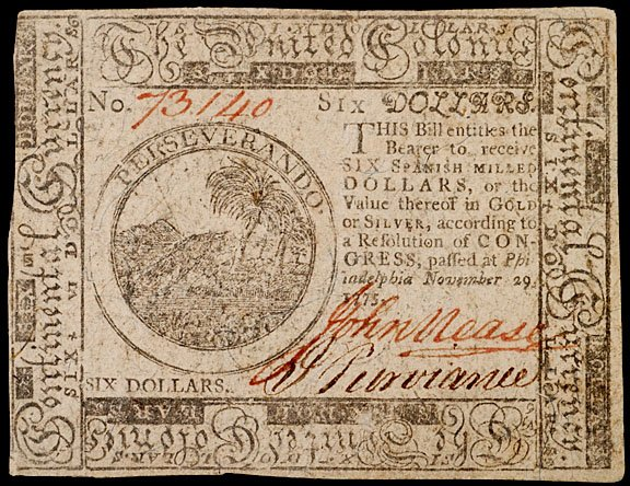 893: Continental Currency, November 29, 1775, $6