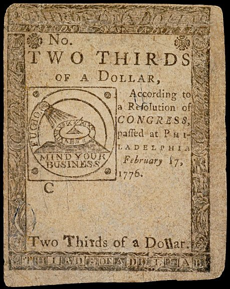 895: Continental Currency, February 17, 1776, $2/3
