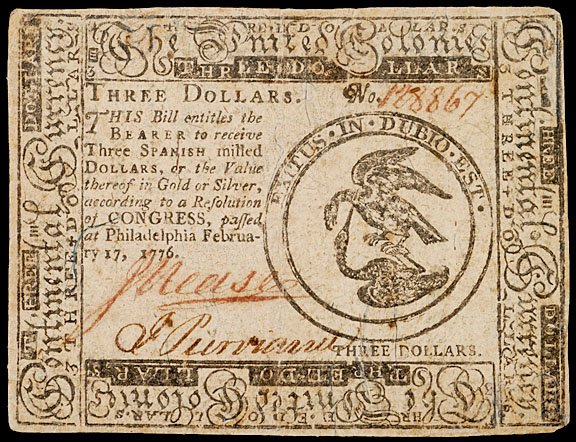 896: Continental Currency, February 17, 1776, $3
