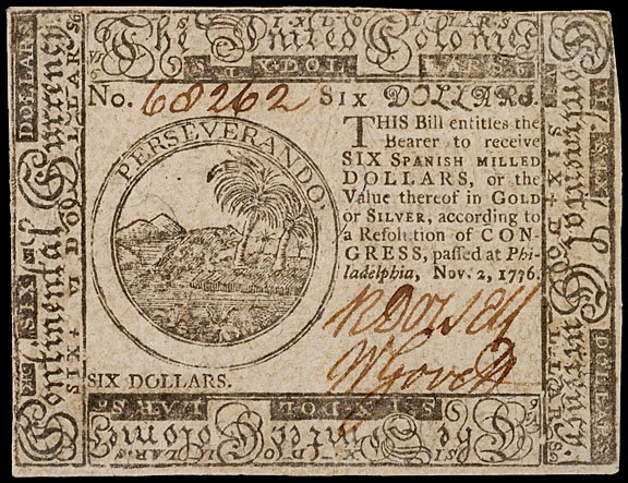 900: Continental Currency, November 2, 1776, $6