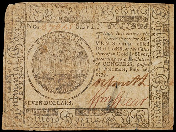 901: Continental Currency, February 26, 1777, $7