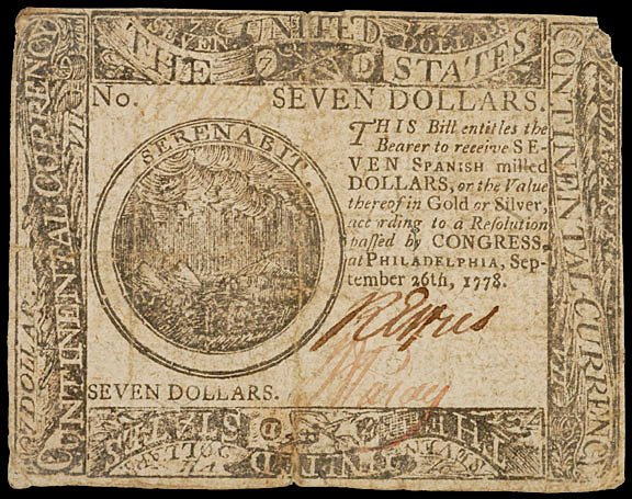 904: Continental Currency, September 26, 1778, $7