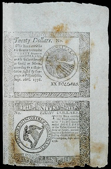 906: Continental Currency, Sept. 26, 1778, $8 and $20