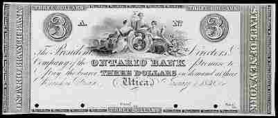 1114: Obsolete Currency, Utica, NY, $3