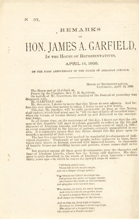 5: JAMES A. GARFIELD Broadsheet Print of His Speech