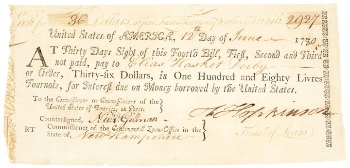 8: FRANCIS HOPKINSON, Revolutionary War Loan Form