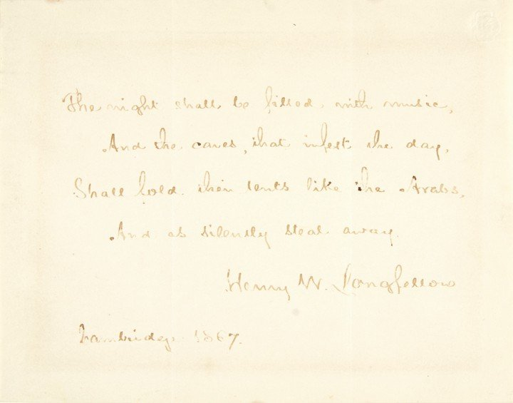 14: HENRY WADSWORTH LONGFELLOW, Poem+Letter Signed - 5
