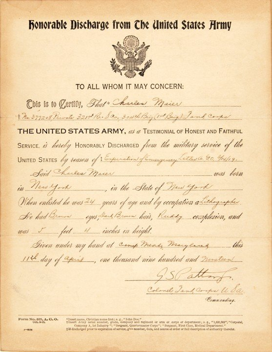 17: GEORGE S. PATTON, 1919 Military Document Signed