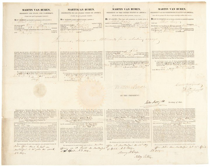 20: MARTIN VAN BUREN, Signed Ship's Passport
