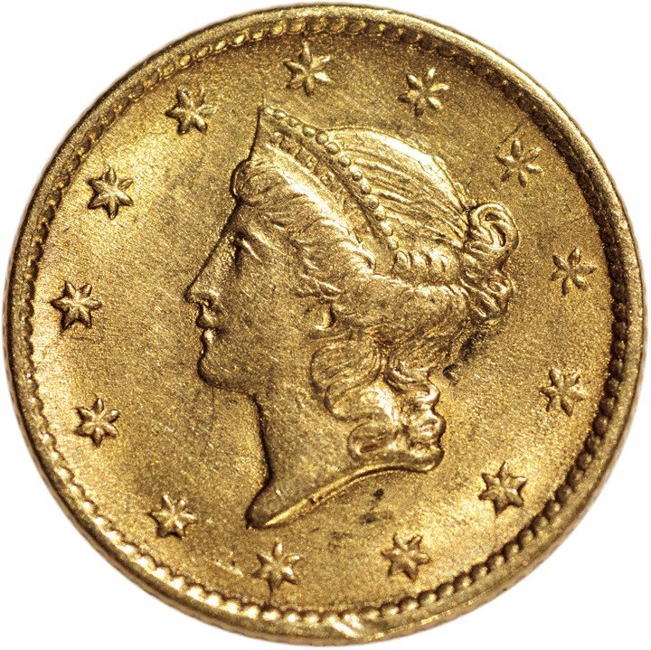 282: 1854 Liberty Head $1 Gold. Type 1. Mint State.