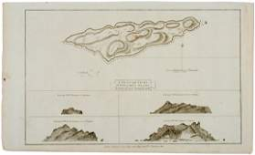 2454 c 1781 Map Captain Cook Voyages